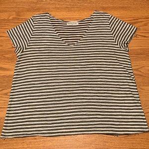 Black and white striped short sleeve shirt